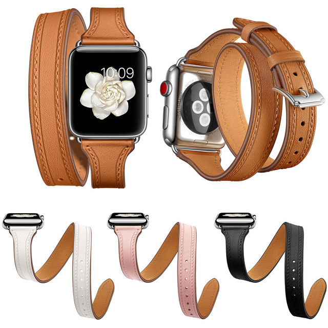 0674514b8 Slim Genuine Leather Strap for Apple Watch Series 4 Band 44mm 40mm iWatch 3  2 1 42mm 38mm Double Tour Wrist Bracelet Belt