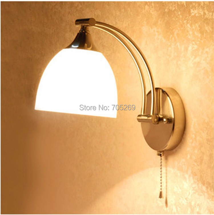 ФОТО modern wall lamp with switch white glass Stretch wall lamp LED mirror light bathroom lamp bedside lamp Metal Wall Sconces