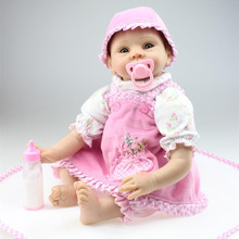 Free Shipping 22 Inch 55 cm Real Looking Silicone Reborn Baby Dolls Handmade Real Touch Realistic Doll Reborn Best Gift To Girl