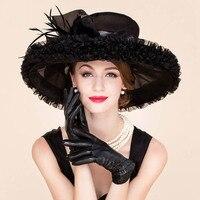Elegant Organza Church Hats Black For Women Wedding Formal Fedoras 2018 Summer Large Wide Brim Bowknot Kentucky Derby Hat