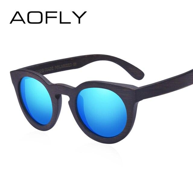 AOFLY BRAND DESIGN Women Sunglasses Polarized Cat Eye Sun Glasses Wooden Frame Vintage Handmade Bamboo Gafas UV400 AF603