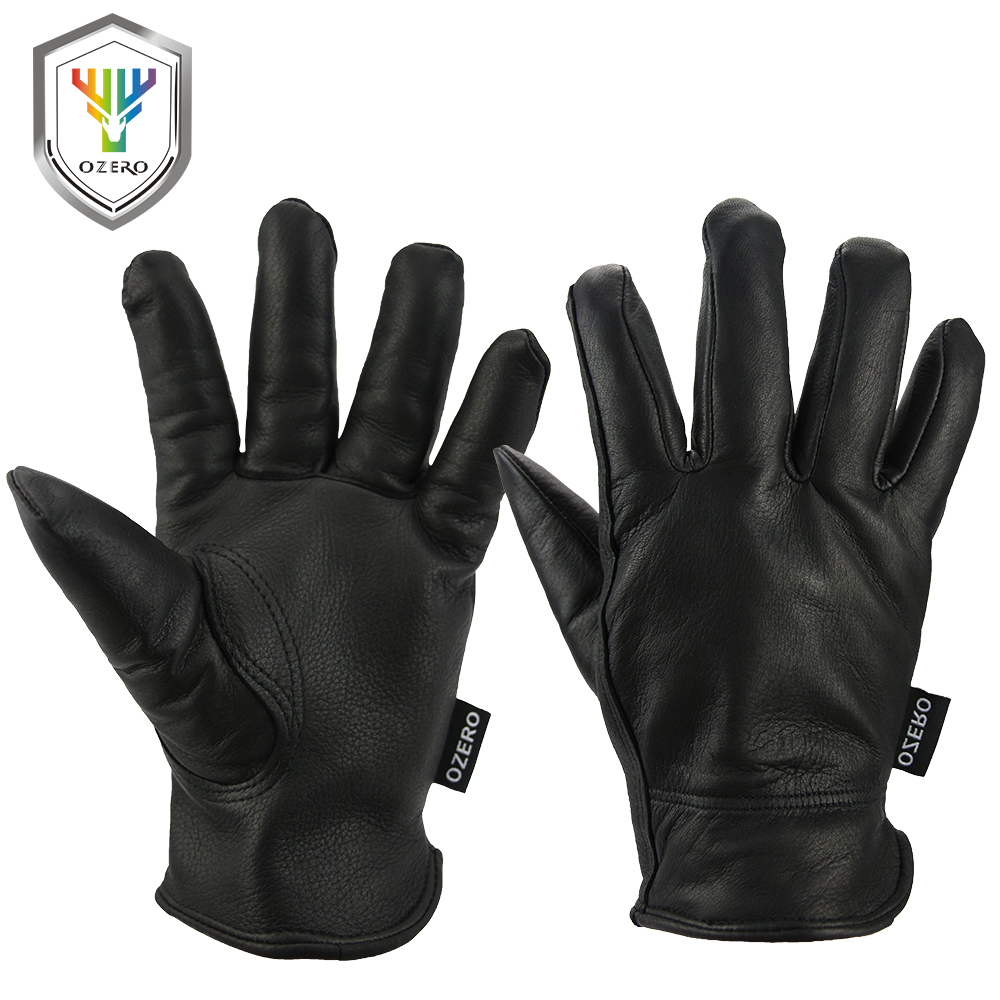Leather work gloves china - Ozero New Work Driver Gloves Deerskin Leather Security Protection Safety Workers Warm Black Gloves For Men