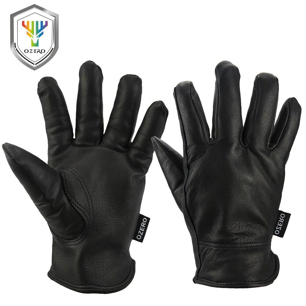 Black gardening gloves - Ozero Work Gloves Deerskin Leather Security Protection Safety Garden Driver Workers Warm Sports Moto Black Gloves