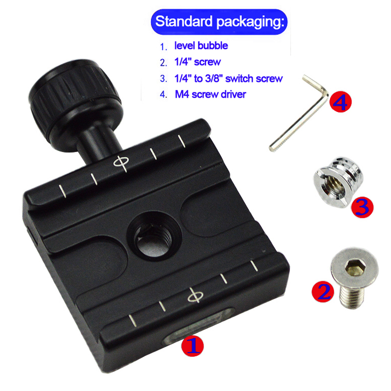 QR-50 Adapter Plate Square Clamp with Gradienter for Quick Release Plate for Tripod Ball Head Arca Swiss RRS Wimberley ...