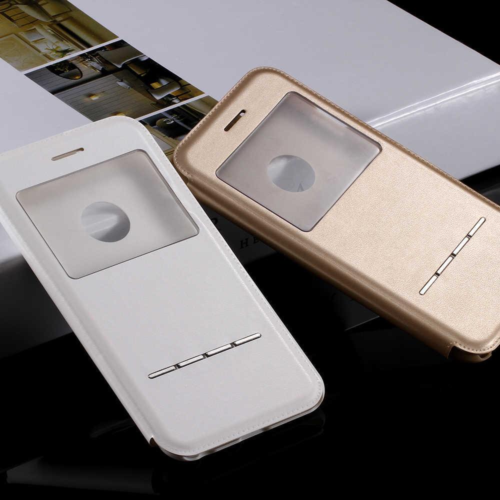 KISSCASE mode etui de téléphone en cuir synthétique polyuréthane pour iPhone 6 S 6 S Plus étuis fenêtre ouverte Flip téléphone couverture pour iPhone 6 6plus 6plus Fundas