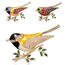 Men Women Bird Branch Rhinestones Brooch Pins Badge Suits Dress Decor Jewelry Gifts(China)
