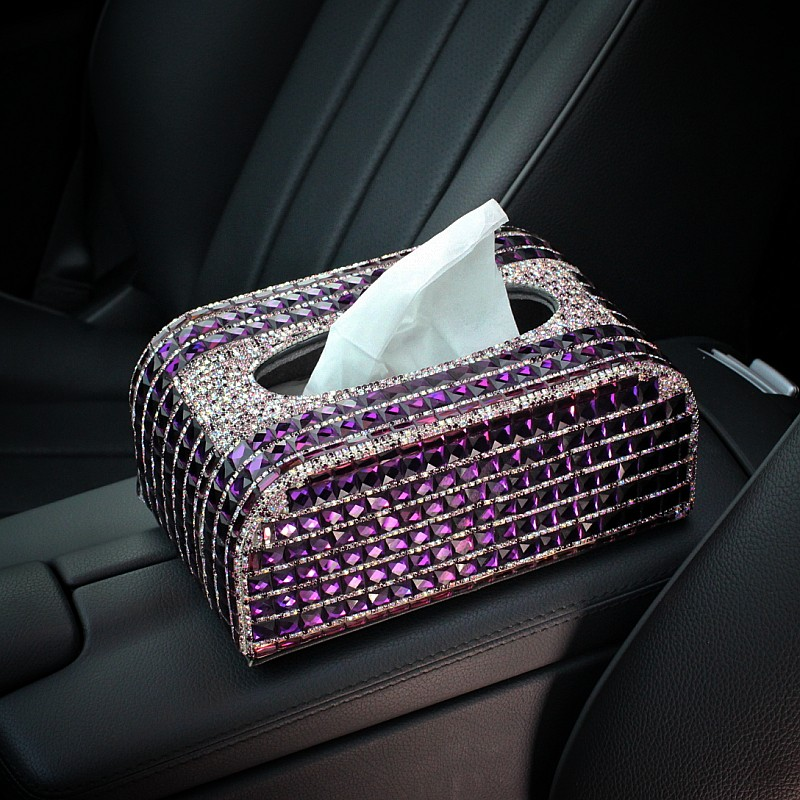 Cristal de luxe support pour voiture boîte de papier de soie bloc Type diamant voiture style pour femmes Auto intérieur accessoires-violet