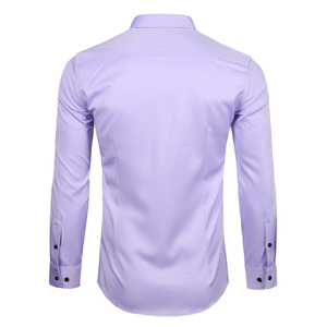 Image 2 - Mens Bamboo Fiber Dress Shirts Casual Slim Fit Long Sleeve Chemise Homme Formal Office Wear Elastic Social Shirts Purple 4XL