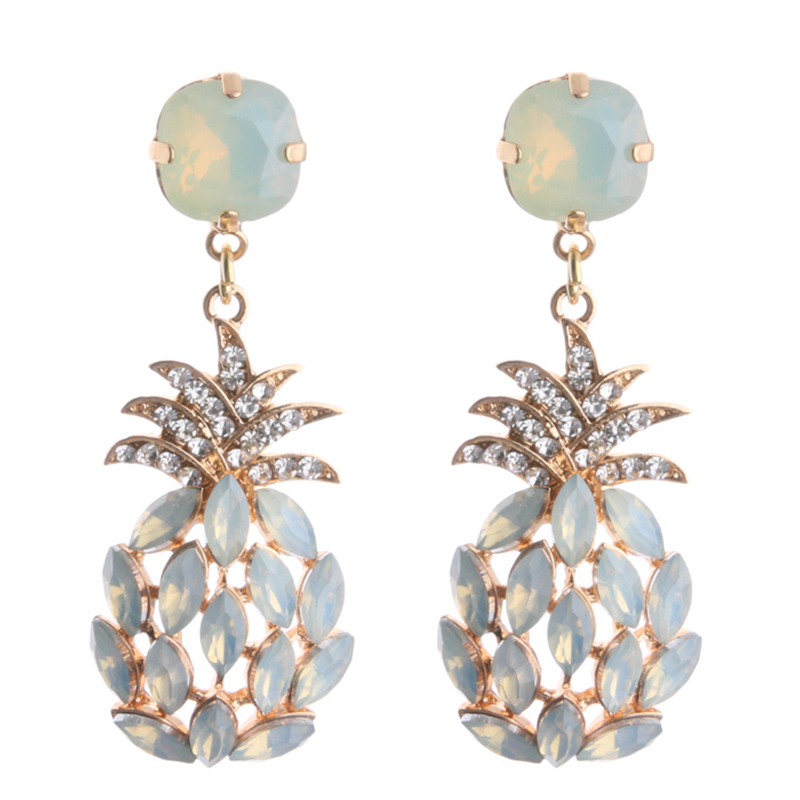NeeFu WoFu Drop Rhinestone Earring Crystal Pineapple Big Earring Dangle  Zinc alloy Large Long Brinco Printing Ear Oorbellen 8c7601050d40
