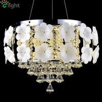 Modern Ceramic Flower Led Ceiling Light Lustre Crystal Dining Room Ceiling Lamp Chrome Metal Bedroom Led Ceiling Lights Fixtures