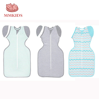 M L XL Newborn Striped Baby Swaddle Blanket Cotton Sleeping Swaddle Muslin Wrap Baby Detachable Anti shock Cocoon Sleeping Bag
