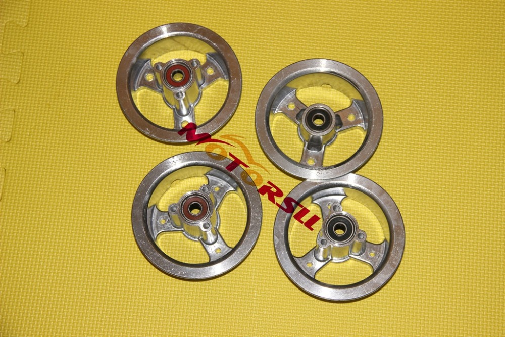 3.00 4/4.10 4 rim mini electric/gasoline scooter disc brake Front+Rear alloy 4 rim with bearings and spacer mini