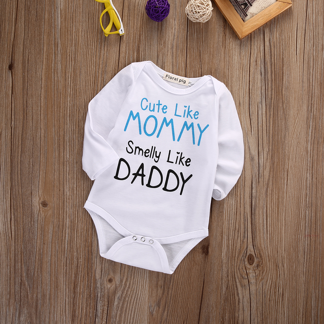 7e9f1b6c754a Lovely Mom Dad Letter Infant Baby Boy Girls Long Sleeve Cotton ...