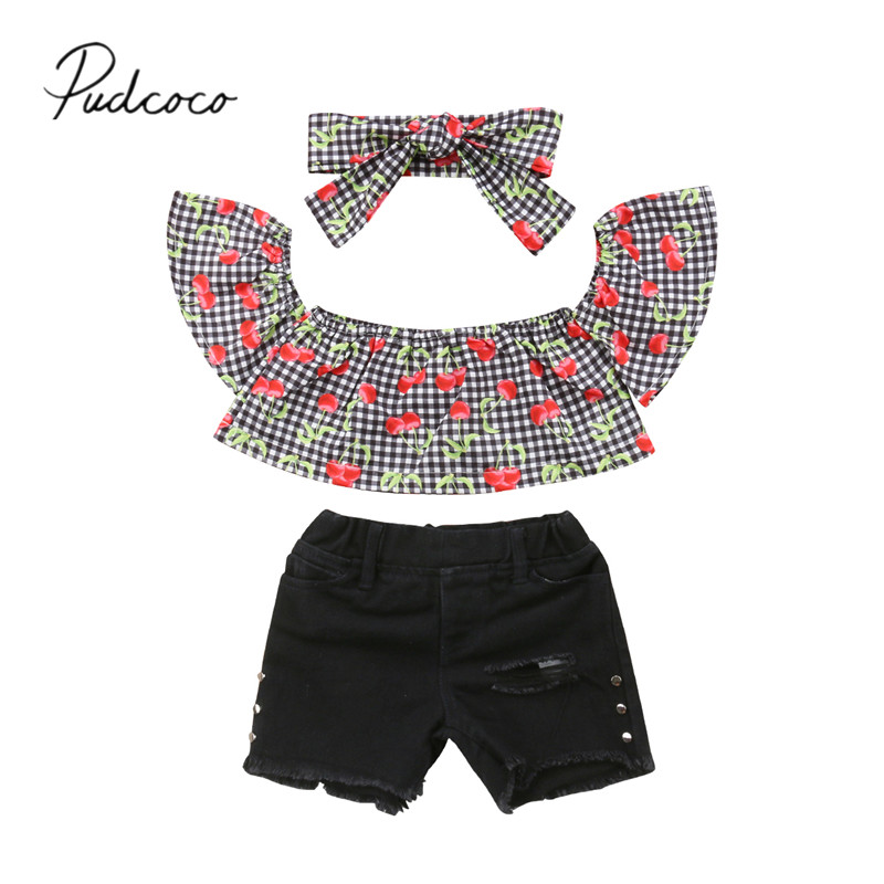 2018 Brand New Summer Toddler Baby Girls Sets 3PCS Off Shoulder Cherry Plaid T-Shirts Tops Ripped Rivet Shorts+Headband Outfits