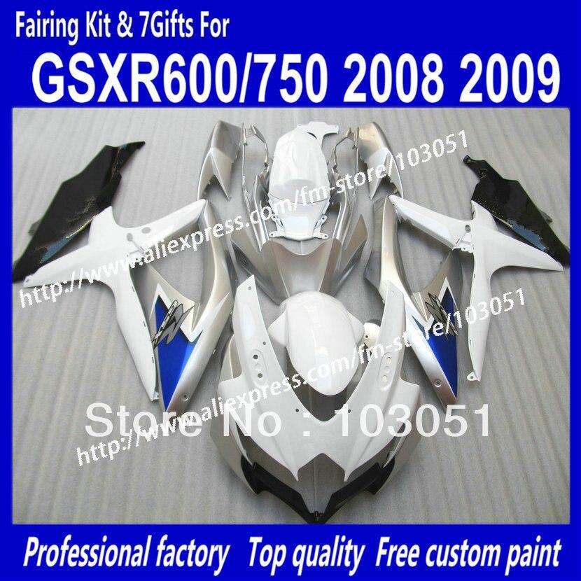 for SUZUKI GSXR 600 2008 fairings set GSX R750 2009 fairing GSXR600 GSXR750 08 09 K8 dark blue in glossy white sp100 for suzuki 2008 2009 08 09 2008 2009 gsxr gsx r 600 750 gsxr600 gsxr750 k8 rear pillion passenger seat 100% brand new