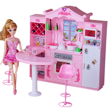 For Barbie Furniture Big Size Kitchen Dollhouse with Bar Cooking Utensils Vegetables Seasoning Accessories for Monster High Doll nk one set doll fashion hi fi tv theatre set dollhouse furniture decor accessories for barbie doll for monster high doll