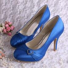 Wedopusที่กำหนดเองที่ทำด้วยมือฤดูใบไม้ผลิผู้หญิงรองเท้าเพื่อนเจ้าสาวส้นสูงรองเท้าสีฟ้าซาตินDropship
