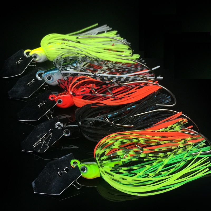 WATERBOY 7cm 10g Slicone Tail Chatterbait Vibrating Wobble Fishing Jig Lure-0