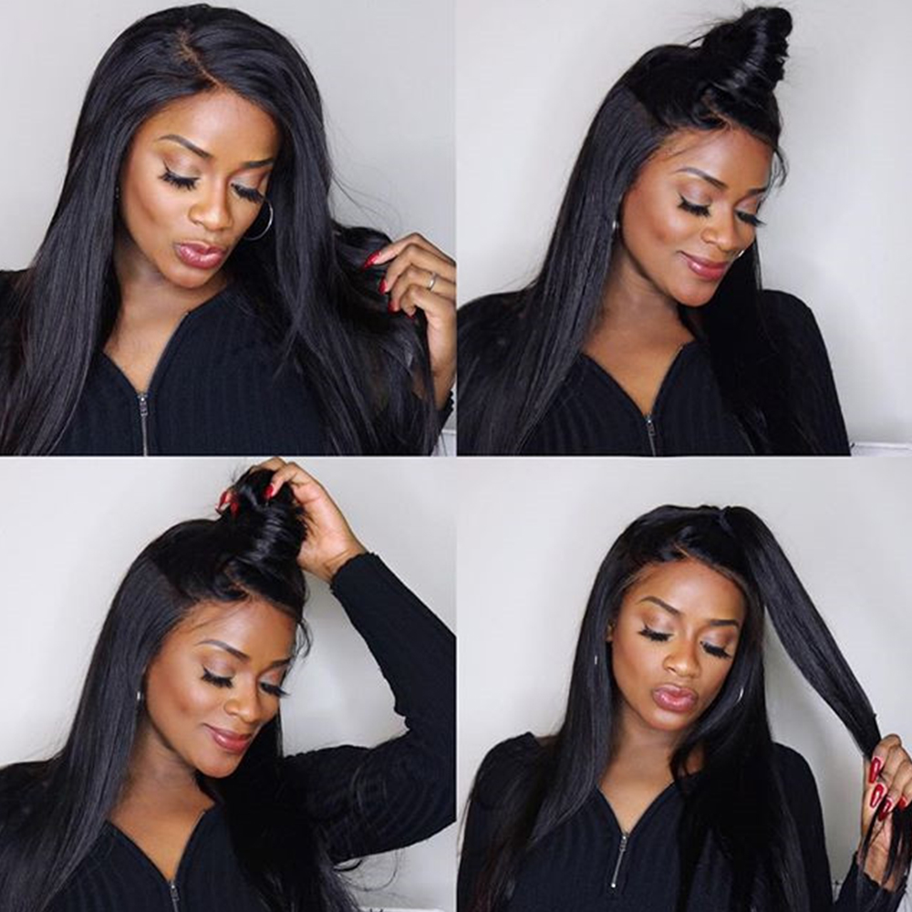 Lace Front Human Hair Wigs For Women Straight 250% Brazilian Glueless Lace Wig With Baby Hair Natural Black 13x4 Remy Wigs CARA