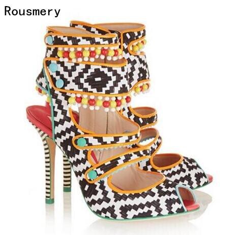 Stiefel Boho Gewebt Schuhe In Heels Ethnische High Sandalen Frau Alias Mischfarbe Perlen Us86 Leder Frauen Gladiator 42Off hot 42 k8OP0wXNn