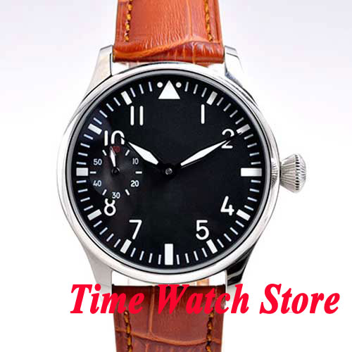 Parnis 44mm black dial luminous brown leather strap 6497 hand winding movement Men's watch P1 цены онлайн