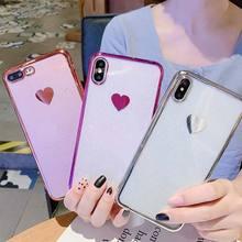 TPU Soft Case For iPhone X XR XS Xs Max 7 Plus 8 Plus Cases Transparent Love Phone Cover For iPhone 6S Plus 6 Plus Plain Case цена и фото
