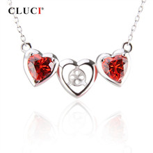 CLUCI 925 Sterling Silver Red Zircon Heart Pendant Necklace Women Fine Jewelry Silver 925 Valentine Day Gift Pendant Necklace(China)
