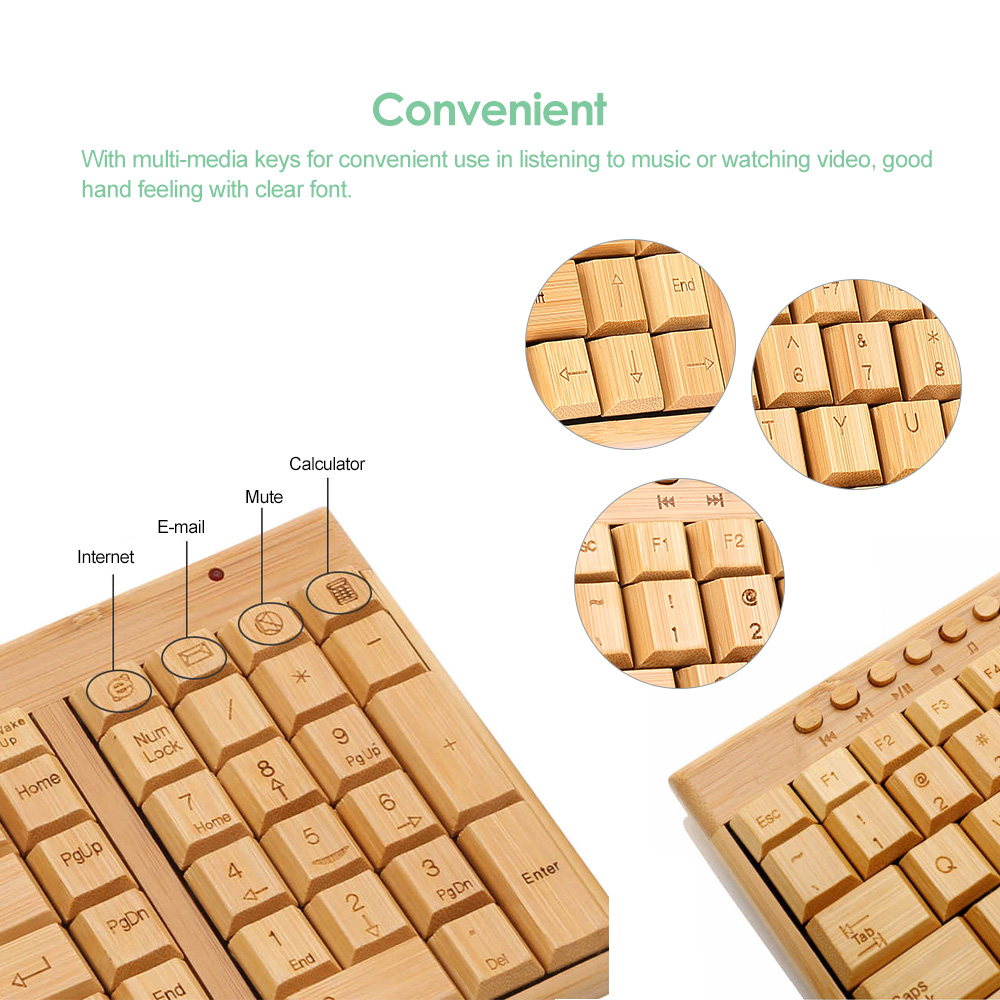 Handcrafted 2.4G Wireless Natural Bamboo Wood PC Keyboard & Mouse Set Computer Keyboard Plug and Play office home 14