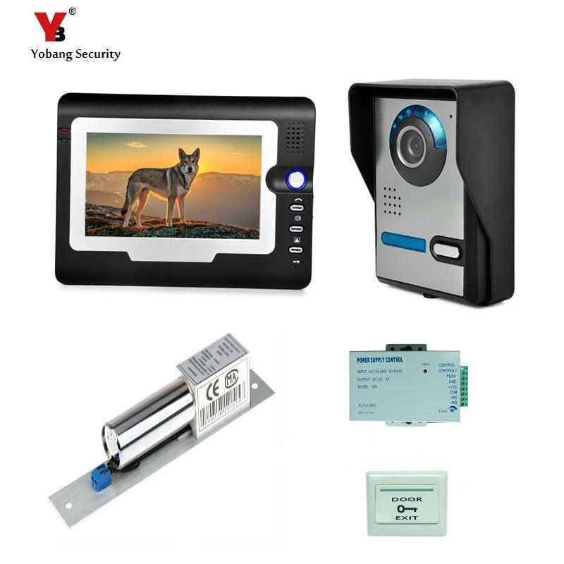 Yobang Sicurezza Freeship 7 pollice Ha Fissato il Video Telefono Del Portello Campanello Sistema di Video citofono Edificio Citofono telecamera di Sicurezza interna