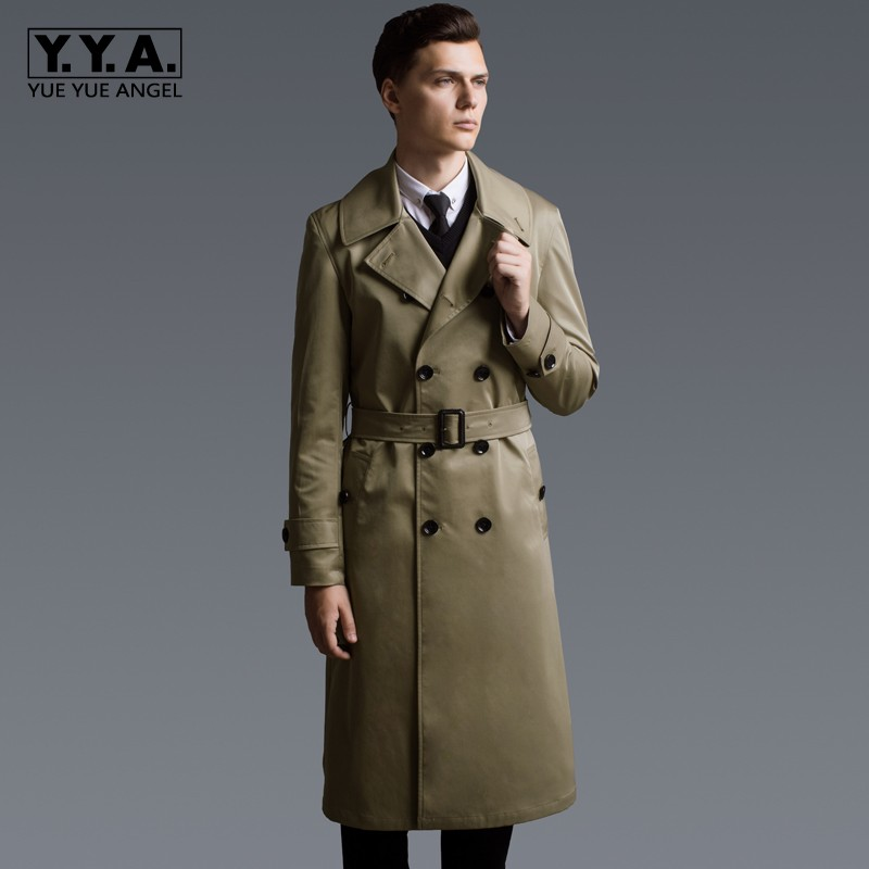 Fashion Military Mens Long   Trench   Double Breasted Windbreaker Maxi Long Coat Plus Size 6XL Khaki Euro Office Work Belt Overcoat
