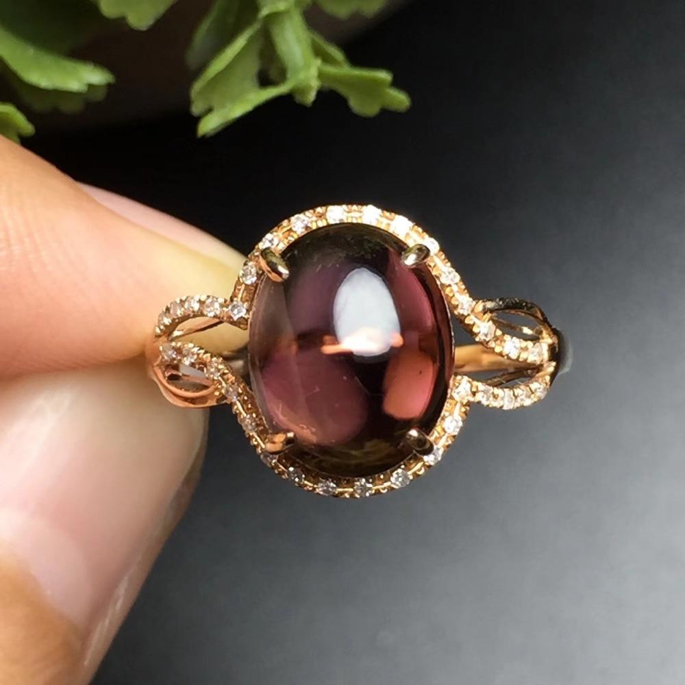 Fine Jewelry anillos oro Настоящее 18 К розовое золото AU750 100% натуральный Бразилии драгоценный камень турмалин женские Кольца для Для женщин тонкой кол