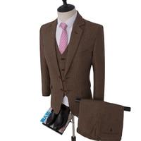 3PCS Jacket+Pants+Vest Wedding Men Suits Blazers Brown Tweed Suits Wool Herringbone Double Breasted Male Tuxedo Groom Prom Suit