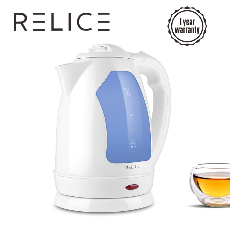 Wholesale! RELICE Kettles 2L 220V Safety Auto-Off Function Quick Heat Electric Kettle Water Boiler Heating Tea Pot 1500W Teapot high quality electric kettle double wall insulation quick heating digital electric thermos water boiler home appliances for tea