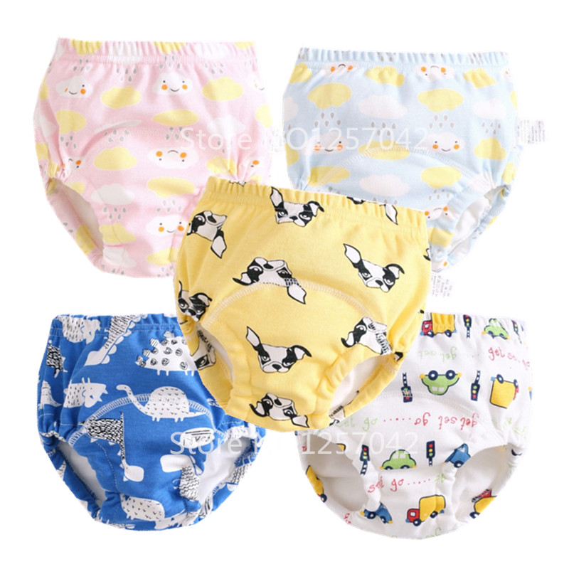 6Layers Baby Cotton Training Pants Panties Waterproof Cloth Diapers Reusable Toolder Nappies Diaper Baby Underwear Washable