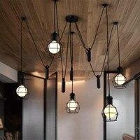 Лофт Nordic Утюг домашний декор в стиле ретро люстра регулируемая высота ширина лампы 5 розетки