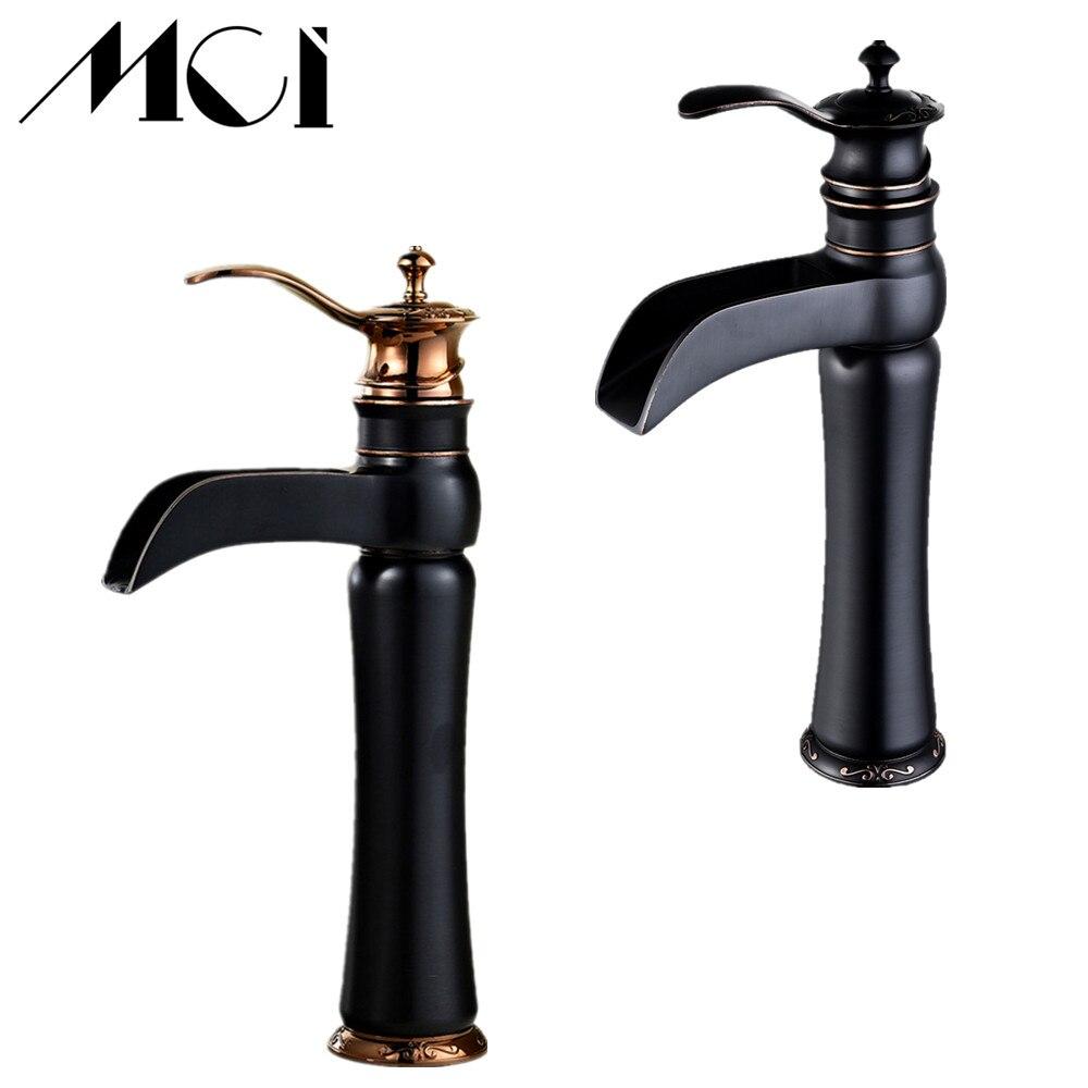 Waterfall Single Handle Bathroom Basin Faucets Cold Hot Mixer Basin Sink Tap Black Water Kitchen Bathroom