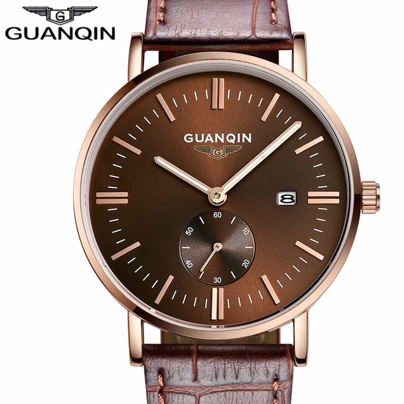 Mens Watches Top Brand Luxury GUANQIN Men Military Sport Luminous Wristwatch Leather Quartz Watch Men's Gift relogio masculino mens watches top brand luxury north men military sport luminous wristwatch chronograph leather quartz watch relogio masculino