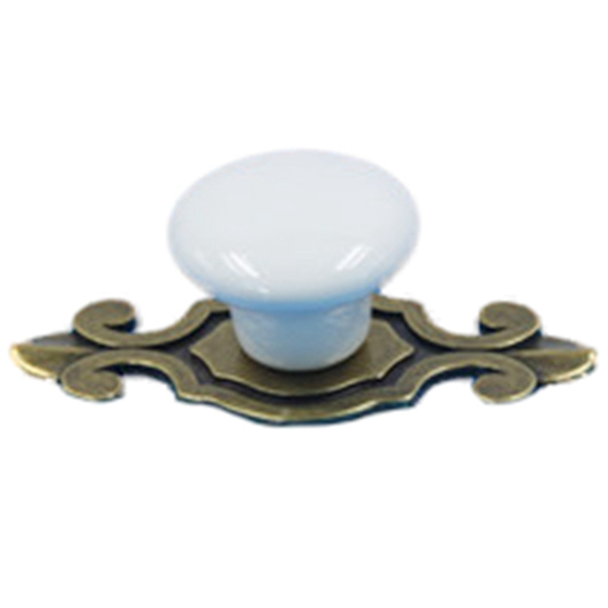 4pcs Ceramic Door Round Handles Kitchen Cabinet Knobs Cupboard Wardrobe Pull (white round + Bronze flower base)