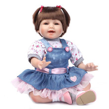 22″ Brown Hair Newborn Baby Reborn Girl Dolls Handmade Soft Silicone Reborn Babies Fashion Denim Skirt Lifelike Dolls For Kids