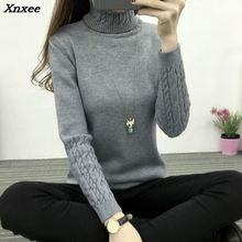 New winter dress Korean Turtleneck Shirt sleeve female twist head thickened slim sweater Xnxee