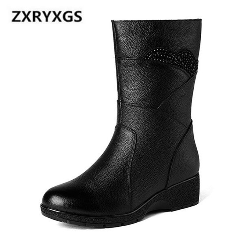 2018 New Large Size Autumn/Winter Boots Women Shoes Rhinestone Cow Leather Women Boots Non-slip Warm Martin Boots Wedges Shoes2018 New Large Size Autumn/Winter Boots Women Shoes Rhinestone Cow Leather Women Boots Non-slip Warm Martin Boots Wedges Shoes