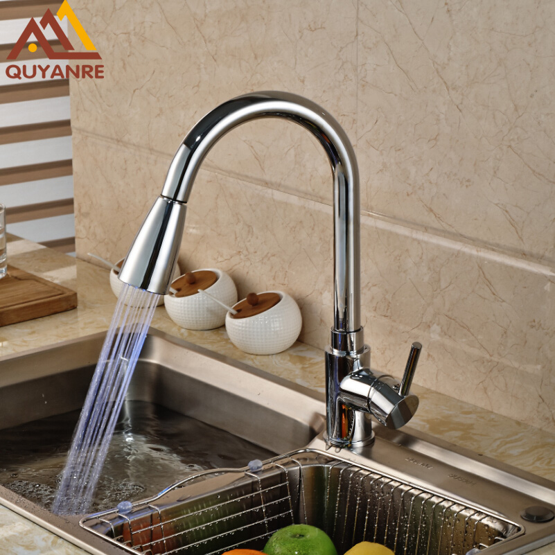 Finish Chrome LED Color Changing Kitchen Faucet Brass Pull Out Kitchen Sink Taps