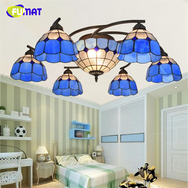 FUMAT Tiffany Mediterranean Blue Shade Chandeliers Stained glass Light For Living Room Creative Artistic European LED Chandelier