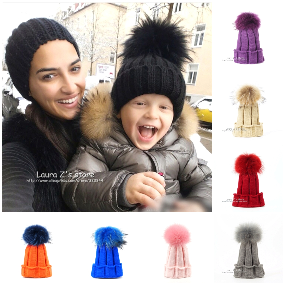 LAURASHOW Children Winter Raccoon Fox Fur Hat Girls Boys Real Fur pompoms Ball Baby Beanies Cap Kids Knitted Hats new star spring cotton baby hat for 6 months 2 years with fluffy raccoon fox fur pom poms touca kids caps for boys and girls