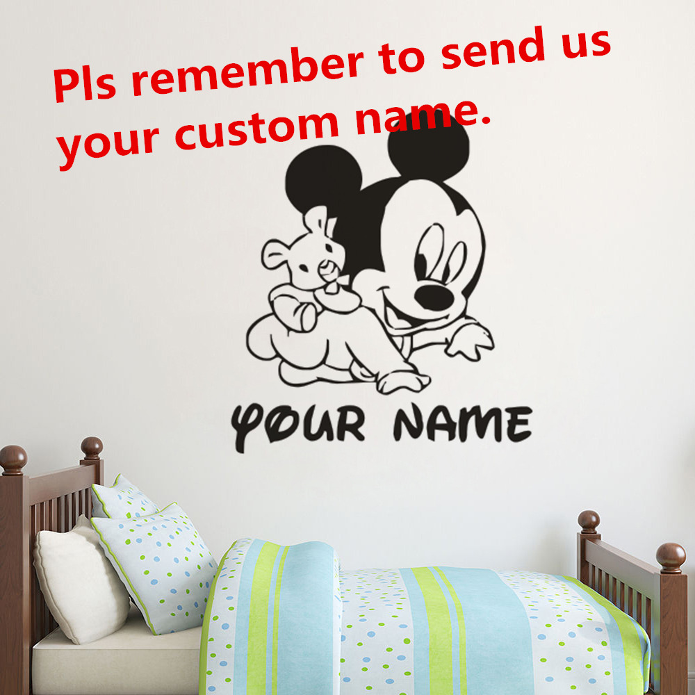 Personalised Custom Disney Text Characters Mickey Mouse Wall Sticker Vinyl Decal
