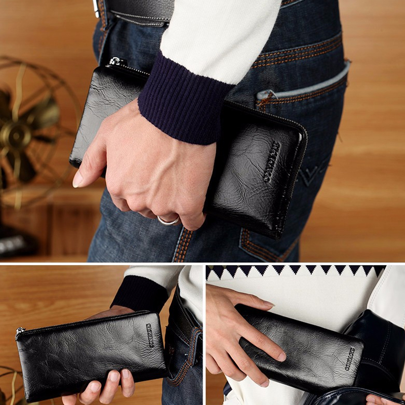 CONTACT'S 2019 New Classical Genuine Leather Wallets Vintage Style Men Wallet Fashion Brand Purse Card Holder Long Clutch Wallet 4