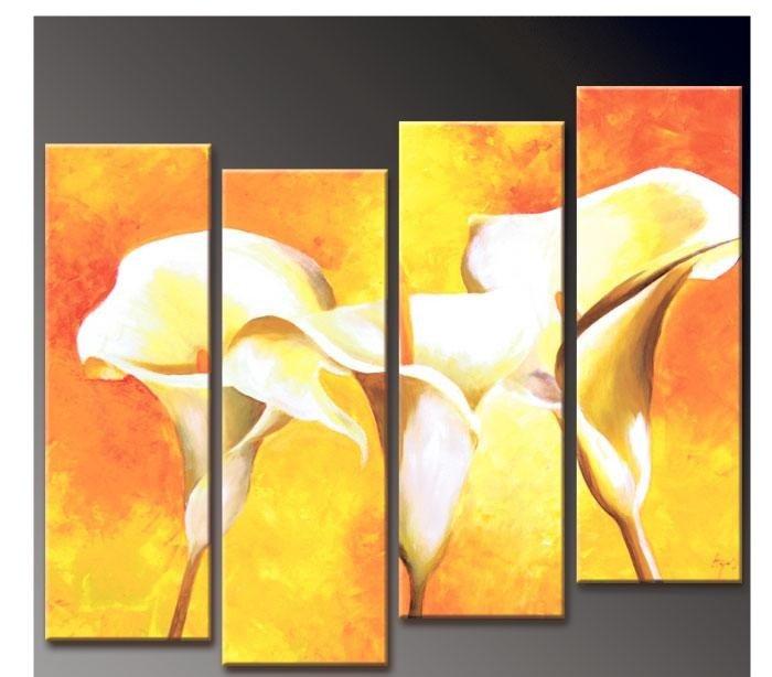 ̿̿̿(•̪ )100% arte de la pared pintada a mano oro débil lirio ...