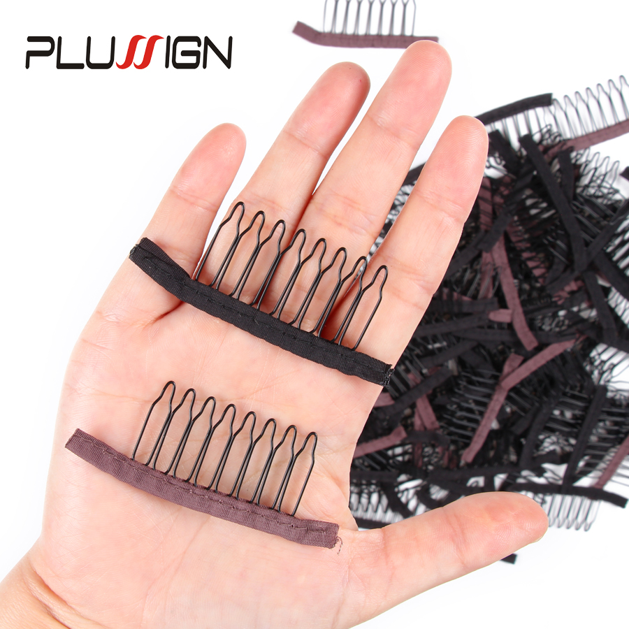 Cheap 10 Pcs Black Brown Color Wig Combs Clips Convenient For Hair Full Lace Wigs Cap Comb Accessories Styling Hair Tools