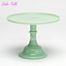 """10 """"soporte de la torta de boda estilo fireking vaso de leche verde fondant pastel plato de postre bandeja de barra de caramelo decoración de la torta herramientas"""