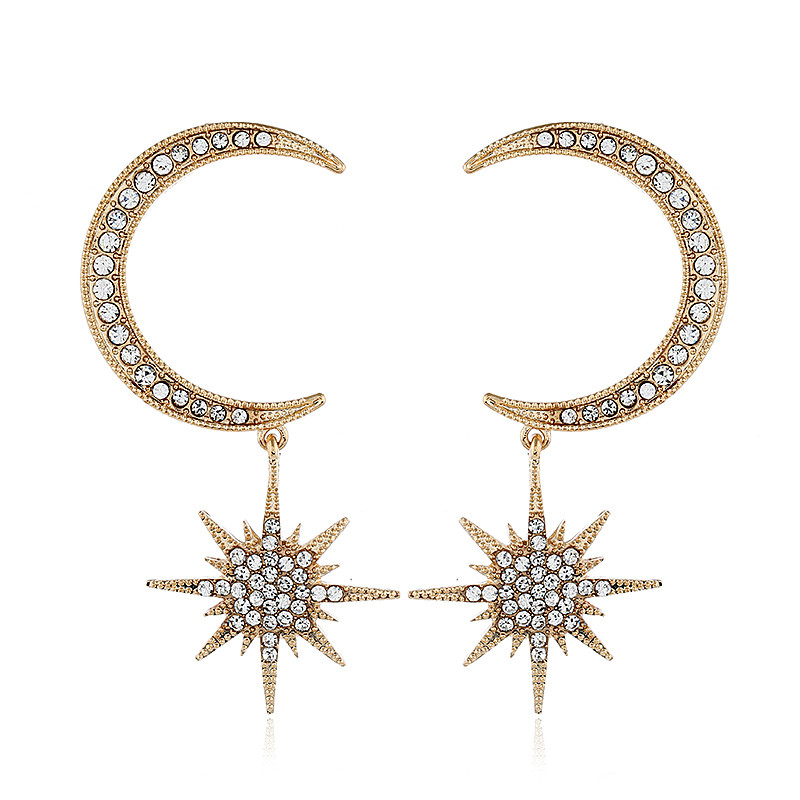 Olaru Extendy Crystal Shiny Star Moon Stud Earring For Woman New Luxury Collar Punk Fashion Jewelry Brincos Exaggerated Gift